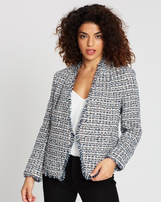 Banana Republic Petite Collarless Fray Tweed Blazer