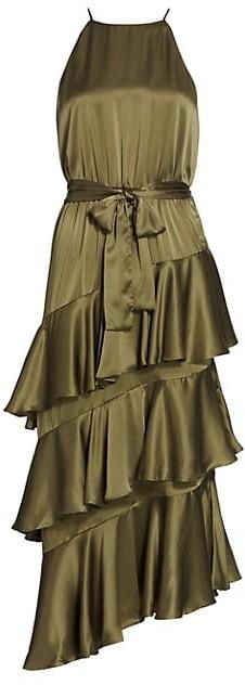 Zimmermann Ladybeetle Asymmetric Tier-Ruffle Silk Midi Dress