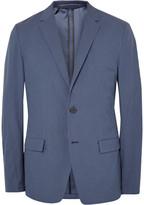 Theory Blue Simons Slim-Fit Gingham Stretch Cotton-Blend Blazer