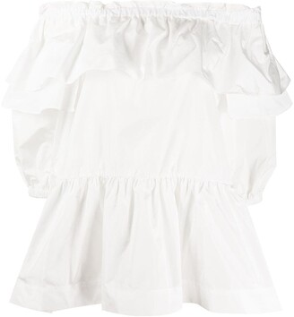 P.A.R.O.S.H. Off The Shoulder Ruffled Trim Blouse
