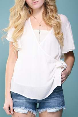 Cotton Candy Wrap Front Blouse
