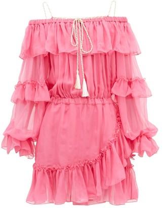 Dundas Off-the-shoulder Ruffled Silk-chiffon Dress - Womens - Pink Multi