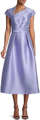 Theia Draped-Bodice Tea-Length Dress