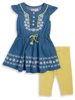 Flapdoodles Little Girls Chambray Dress and Leggings Set