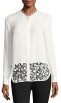Elie Tahari Constance Lace-Panel Button-Front Silk Blouse, Ivory