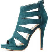 Charlotte Russe Caged Peep Toe Ankle Booties