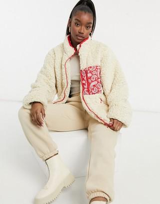 Night Addict oversized oversized borg jacket with bandana pocket