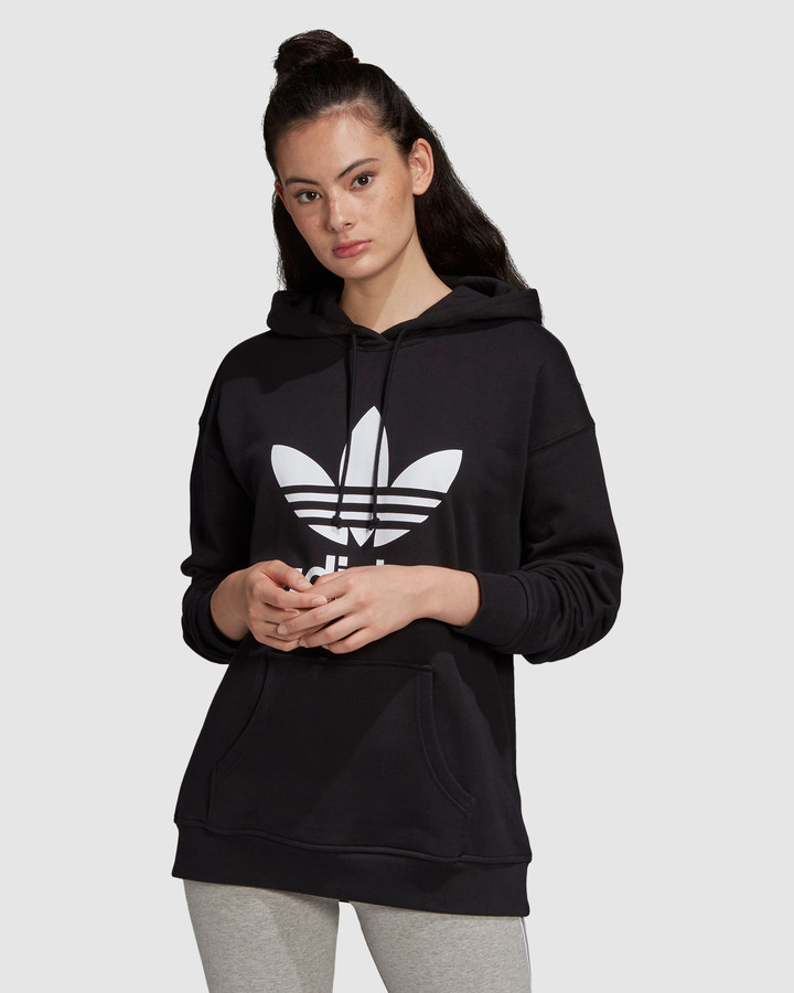 adidas Women's Black Hoodies Adicolor Trefoil Hoodie - Size One Size, 12 at The Iconic