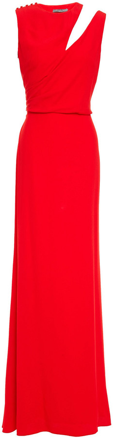 Alexander McQueen Cutout Draped Crepe Gown