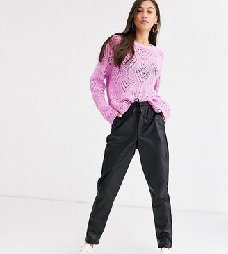 New Look Tall leather look jogger in black