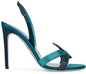 Rene Caovilla Knotted Crystal-Embellished Slingback Sandals