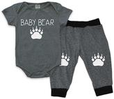 Urban Smalls Light Gray & Charcoal 'Baby Bear' Bodysuit & Harem Pants