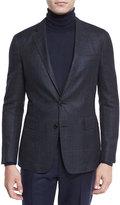 Ralph Lauren Plaid Cashmere Two-Button Jacket, Navy