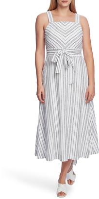 Vince Camuto Surfboard Stripe Sleeveless Linen & Cotton Blend Dress