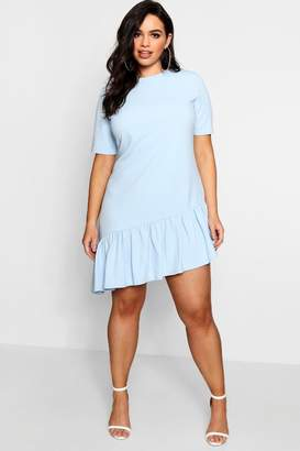 boohoo Plus Asymmetric Hem Shift Dress
