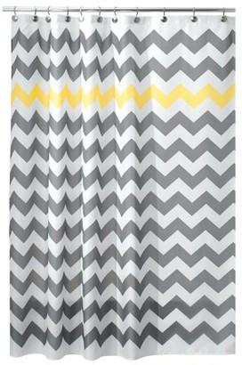 """InterDesign Chevron Fabric Shower Curtain, Wide, 108"""" x 72"""", Gray/Yellow"""