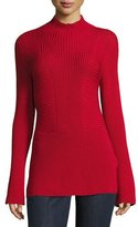 Escada Mock-Neck Bell-Sleeve Virgin Wool Sweater