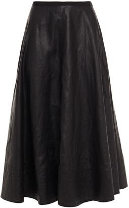 Lee Mathews Phoebe Grosgrain-trimmed Coated-linen Midi Skirt