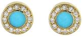 Jennifer Meyer Diamond Turquoise Inlay Circle Stud Earrings - Yellow Gold