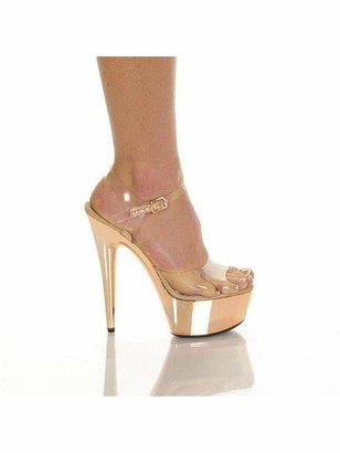 """The Highest Heel AMBER-821-E 6"""" Clear Upper Strap with Electroplated Platform and Heel"""