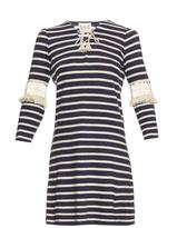 Sea Lace-up striped cotton dress