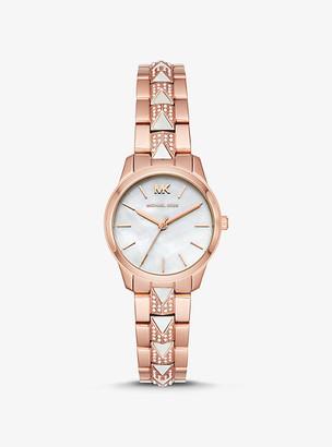 Michael Kors Petite Runway Mercer Pave Rose Gold-Tone and Pearl Watch