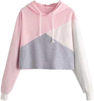 GesOes Womens Teen Girls Gray Pink Color Block Crop Hoodie Lightweight Long Sleeve Drawstring Crop Tops