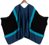 Oversize Color Block Cashmere Blend Poncho
