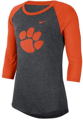 Nike Women Clemson Tigers Logo Raglan T-Shirt