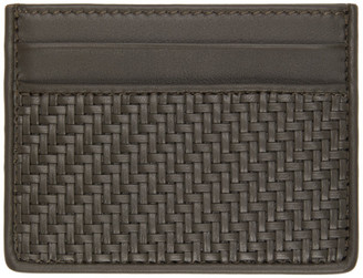 Ermenegildo Zegna Grey Pelletessuta Card Holder