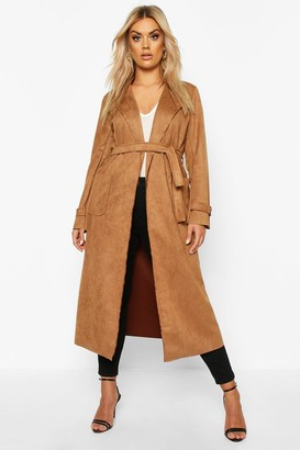 boohoo Plus Soft Faux Suede Trench Coat