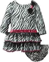 Nannette Baby Girls' 2 Piece Zebra Ruffle Dress Set