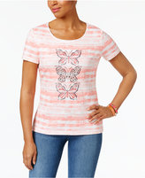 Karen Scott Petite Cotton Butterfly Graphic T-Shirt, Only at Macy's
