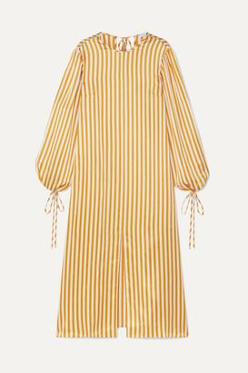 Olivia von Halle Margeaux Striped Silk-satin Midi Dress - Saffron