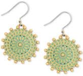 Lucky Brand Gold-Tone Patina Circular Drop Earrings
