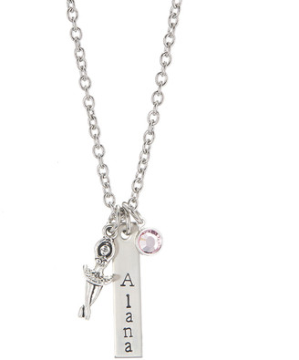 Swarovski Pebbles Jones Kids Girls' Necklaces Silver - Purple Ballerina Personalized Necklace With Crystals