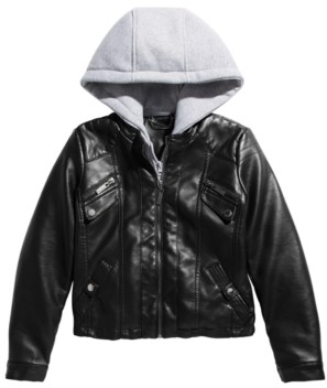 Joujou Jou Jou Big Girls Layered-Look Hoodie Moto Jacket