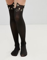 Leg Avenue Halloween Opaque Tights with Black Cat Print