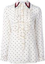 Coach ruffled rabbit print shirt - women - Silk - 6