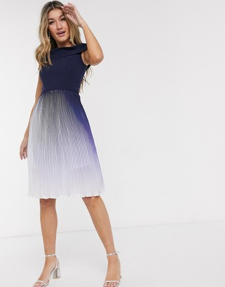 Chi Chi London pleated ombre midi dress in navy