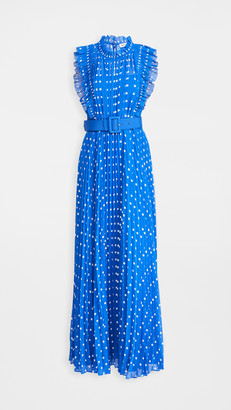 Self-Portrait Polka Dot Chiffon Maxi Dress