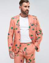 Asos Skinny Suit Jacket In Coral Tropical Print