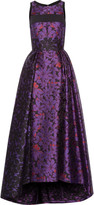 J. Mendel Cutout pleated printed wool-blend gown