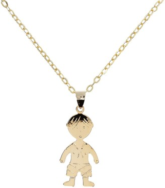 "Italian Gold Polished Boy Pendant w/ 18"" Chain,14K Gold"