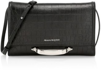 Alexander McQueen Small The Story Croc-Embossed Leather Crossbody Bag