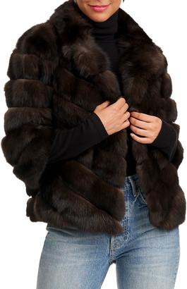 Gianfranco Ferre Chevron Russian Sable Fur Short Jacket
