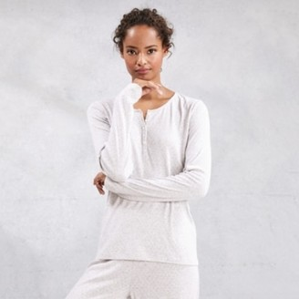 The White Company Pointelle Pyjama Top , Cloud Marl, Extra Small