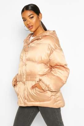 boohoo Satin Belted Puffer Jacket
