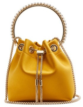Jimmy Choo Bonbon Crystal-embellished Satin Clutch Bag - Womens - Yellow