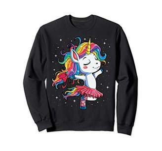 Ballet Dancer Unicorn Sweatshirt Women Rainbow Ballerina Tee